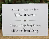 In Loving Memory Heaven Wedding Sign A4 White Ivory with Crystal Heart Rustic Vintage Script