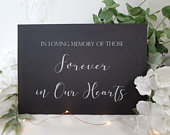 In loving memory heaven White Print Script Wedding Sign Chalkboard style A4 black craft brown classic industrial modern simple chalk table