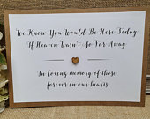 Heaven In loving memory Wedding Party Sign A4 with wooden heart white ivory craft brown Rustic Vintage Barn Garden Boho theme script print