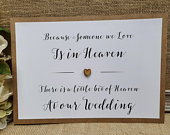 In Loving Memory Heaven Wedding Party Sign A4 with wooden heart white ivory craft brown Rustic Vintage Barn Garden Boho theme script print
