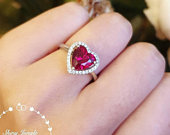 Halo Heart shaped ruby ring, heart cut ruby engagement ring, red heart ring, heart cut ring, red stone ring, ruby ring, ruby engagement ring