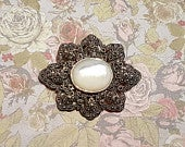 Mother of Pearl Brooch Silver Marcasite Bridal Pendant Pin
