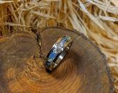 Titanium Ring Inlaid With A Unique Collection Of Crystals, One of a kind ring. Eco Friendly Material