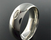 Mens large white gold Scottish ring