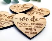 Save The Date Magnet, Wedding Invitations, Rustic Fall Winter Save The Dates Cards Heart, Custom Wooden Boho Wedding Invites, Elegant.
