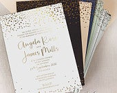 Personalised Gold Foil Confetti Elegant Wedding Invitation FoilPressed Calligraphy Wedding Card Thick Board