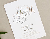 Wedding Invitation Cards Traditional Elegance Collection Gold, Rose Gold or Silver Foil Personalised