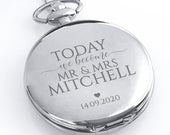 Engraved GROOM silver pocket watch wedding gift, personalised flip pocket watch gift from the bride, presentation tin gift box PWBEC