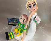 Bride Dragging Groom away from football same sex wedding Gift.