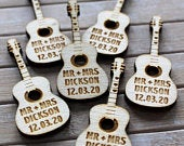 Acoustic GUITAR Wooden PERSONALISED Music Themed Wedding Table Confetti Scatter Favours