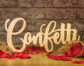 Confetti and Bubbles Free Standing Wedding Table Signs 30cm Wide Colour Choice, Wedding Ceremony Decoration, Elegant Party/Venue Decor Signs