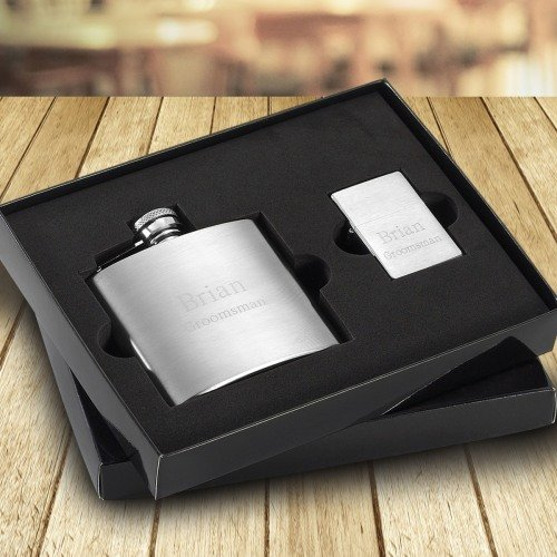 Personalized Brushed Flask and Lighter Set