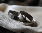 Oxidised Sterling Silver Hammered Wedding Ring Set