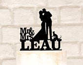 Personalised Cat Silhouette Wedding Cake Topper