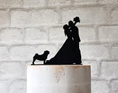 Pug Wedding Cake Topper Bride Groom and Dog Acrylic Silhouette Party Decoration