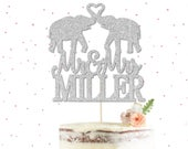Custom Elephant Mr Mrs Cake Topper Elephant Wedding Cake Topper, Glitter Cake Topper, Silhouette Wedding Cake Topper, Wedding Decor