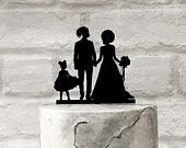 African American Family Wedding Cake Topper in Silhouette Style Bride with Afro Groom with Dreadlocks