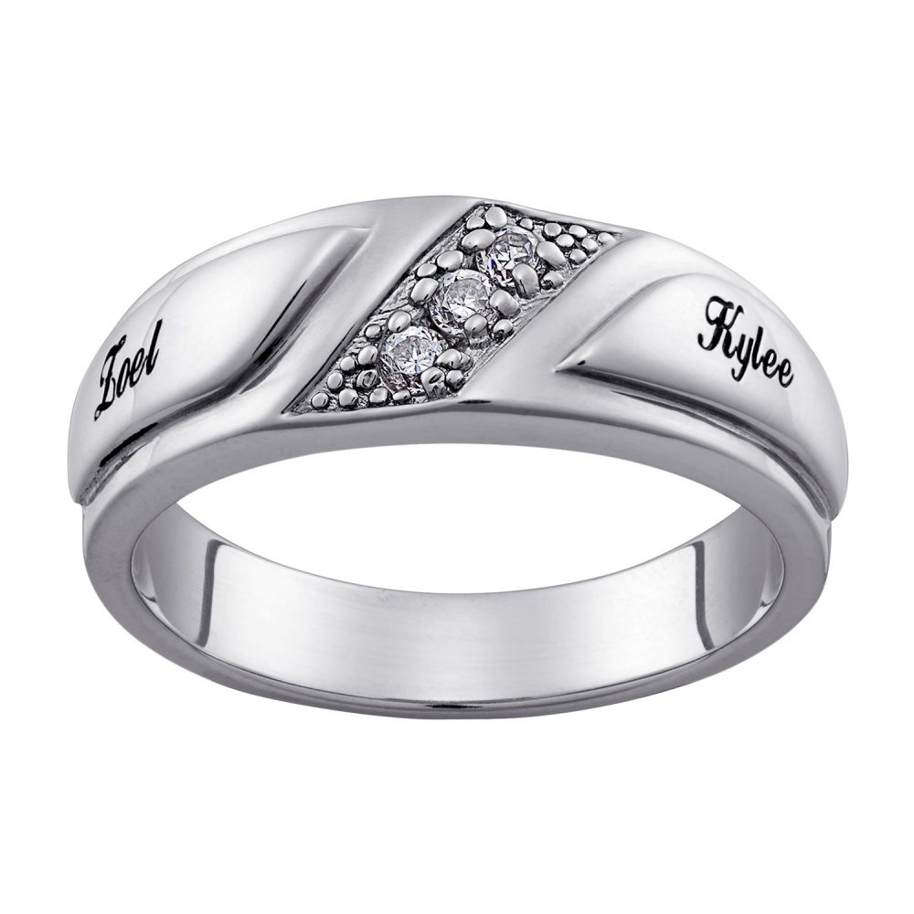 Platinum Plated Sterling Silver Wide CZ Wedding Name Band