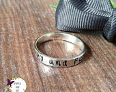Personalised Silver Band Ring, Name Ring, Special Dates Jewellery, Hand Stamped Stacking Ring, Divorce Gifts For Her,