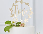 Gold Acrylic Love Cake Topper, Gold Cake Decorations, Gold Wedding Cake Topper, Engagement Cake Topper, Anniversary Cake Topper
