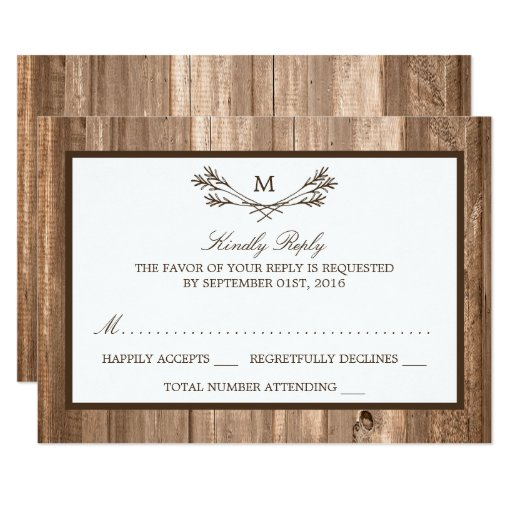 Country Rustic Monogram Branch & Wood Wedding RSVP Invitation