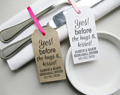 Rehearsal Dinner Napkin Holders, Personalized White or Rustic Table Decor, Yes Before Hugs Kisses