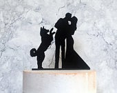 Silhouette Wedding Cake Topper with Kissing Bride and Groom and Jumping Husky Dog