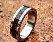 Titanium Wedding Band with Crushed Molten Black Opal Inlay 6mm Brushed.