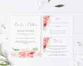 Floral Wedding Invitation Template, Printable Invitation Suite including rsvp details card, Country Garden Invite, INSTANT DOWNLOAD 016