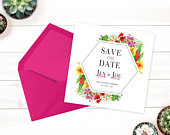 Tropical Flower Save the Date Location Wedding, Printable Template, Modern Wedding, Wedding Announcement, Elegant, Floral Invite