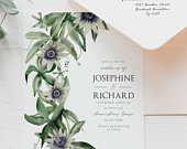 Passion Flower editable DIY wedding Invitation, Template Suite to print at home, Editable Wedding set, Edit online, instant download