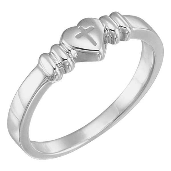 14K White Gold Chastity Cross Heart Ring