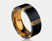 Black Tungsten Ring Gold Lining with Black or White CZ inlaid Stones