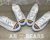 Unisex Custom Wedding Converse With Swarovski Crystals, Rainbow Bridal Sneakers, Personalised LGTB, Bride And Grooms Matching Wedding Shoes