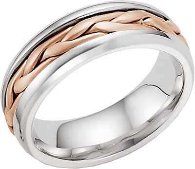14K Rose and White Gold Wide Braided Wedding Band Ring