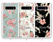Personalised Samsung Galaxy S10 Case, S10e Case, S10 Plus Case, Custom Floral Flower Initials Name Samsung Case Rubber Phone Case Blue