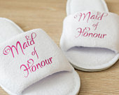 Personalised Maid of Honour Honor Wedding Slippers Bride, Bridesmaid Gift, Bridal Party , Bridesmaid Slippers Hen Open Toes Spa Slippers