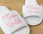 Personalised Team Bride Wedding Slippers Bride, Bridesmaid Bride Tribe Bride Gift, Bridal Party , Hen Open Toes Spa Slippers 28 colours