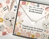 Bridesmaid necklace,Bridesmaid jewellery,beautiful gift for wedding,heart pendant necklace,jewellery for a flower girl,bridesmaid necklace.