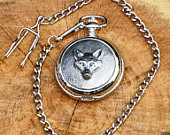 Fox Pocket Watch Pewter Engraved Gift