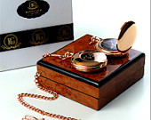 Free Engraving Monogram Custom 18k Rose Gold Plated Pocket Watch Custom Engraved Old English Luxury Wooden Gift box Case with Certificate
