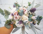 Boho bridal bouquet, wedding bouquet, rustic bouquet, thistle,wedding bouquet, loose bouquet, eucalyptus, peony bouquet, wildflower