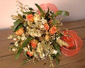 Aubrey Bouquet, brides bouquet, wedding, country style, rustic bouquet, peach roses, cream roses, herbs,