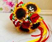 Rustic Bridal Bouquet with Felt Sunflowers and Roses for Summer, Autumn/Fall Weddings