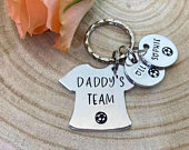 Daddy Gift, Daddys Team, Football Dad, Daddy, Dad Keyring Keychain, Hand Stamped Personalised, Fathers Day Gift, Daddy, Father, Gift