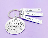 Personalised Dad Daddy Keyring, This Daddy Belongs To Hand Stamped Personalised Keyring, Personalised Fathers Day, Gift For Dad, Keychain