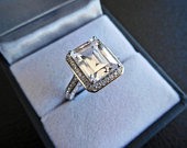 4.00ct promise ring, Man made diamond simulants, 925 sterling silver, Art deco bridal engagement ring, Silver emerald cut engagement ring
