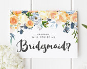 Bridesmaid Proposal Card, Personalised Bridesmaid Card, Peach Wedding Theme, Will You Be My Bridesmaid Card, Pretty Bridesmaid Proposal