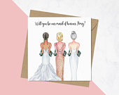 Will You Be Our Bridesmaid, Same Sex Marriage, Mrs Mrs Wedding Card, Lesbian Brides Card, Bridesmaid Proposal Cards, Personalised 407