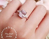 Pink diamond ring, 3 stone style engagement ring, 3 carats cushion cut fancy pink diamond ring, pastel pink ring,pink diamond solitaire ring